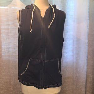 Navy cotton hoody vest